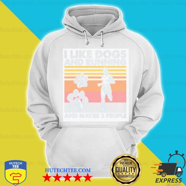 I like dogs and running and maybe 3 people vintage hoodie