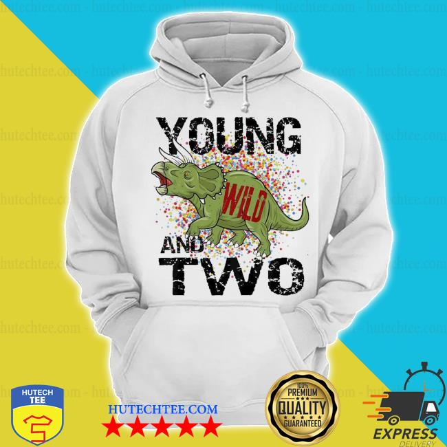 Kids young wild and two 2 three horned dinosaur themed birthday new 2021 s hoodie