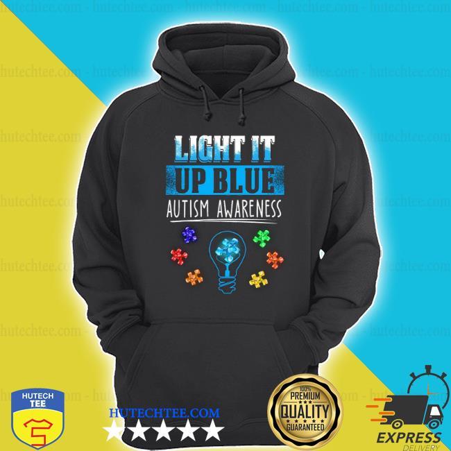 Light bulb light it up blue autism awareness shirt