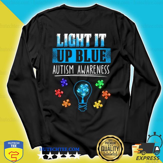 Light bulb light it up blue autism awareness s longsleeve