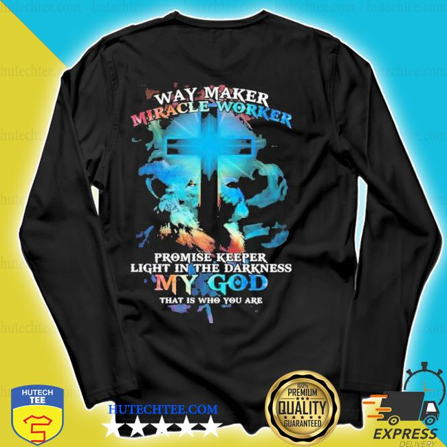 Lion cross light colorful way maker miracle worker promise keeper light in the darkness my god print on back s longsleeve