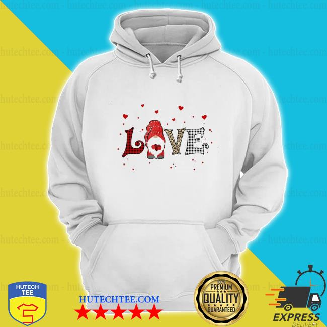 Love gnome Valentines day heart buffalo plaid leopard new 2021 s hoodie