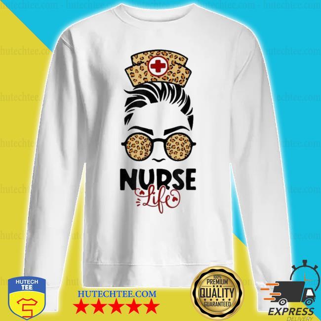 Messy hair girl nurse life leopard print sunglasses new 2021 s sweatshirt