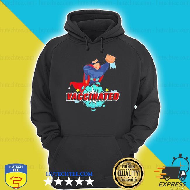 Vector super hero with comic vaccinated pop art design new shirt