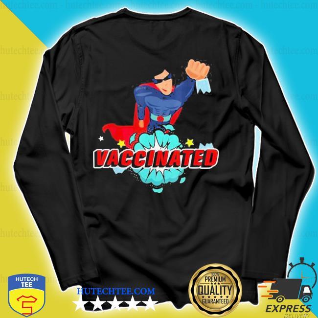 Vector super hero with comic vaccinated pop art design new s longsleeve