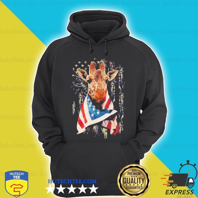 Giraffe cool American flag s hoodie