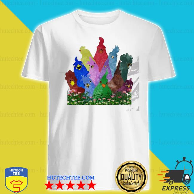 Chicken rooster colorful rainbow shirt