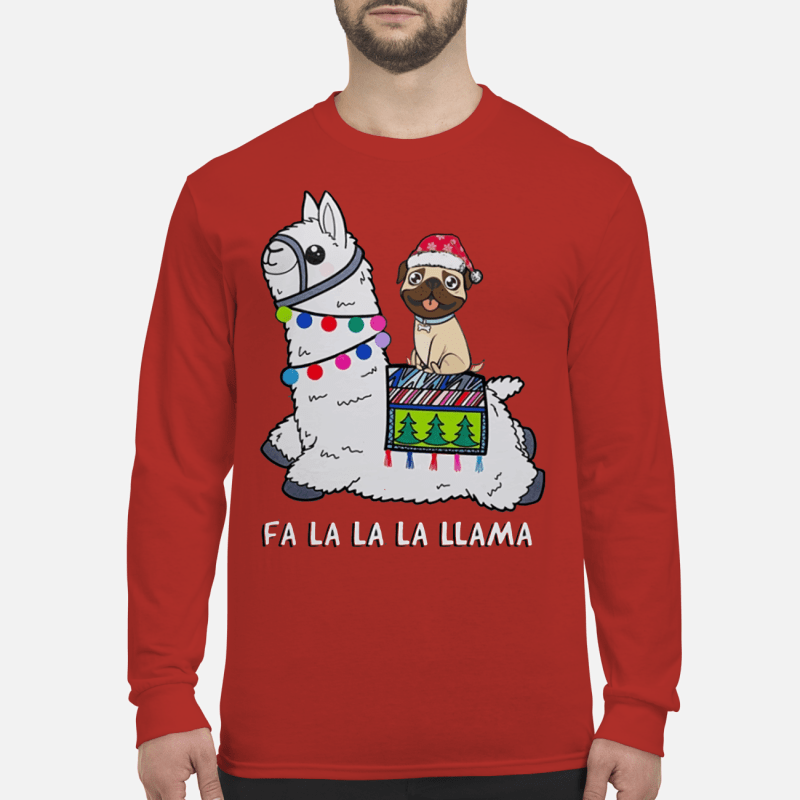Baby Pug and Fa la la la llama christmas sweater long sleeved