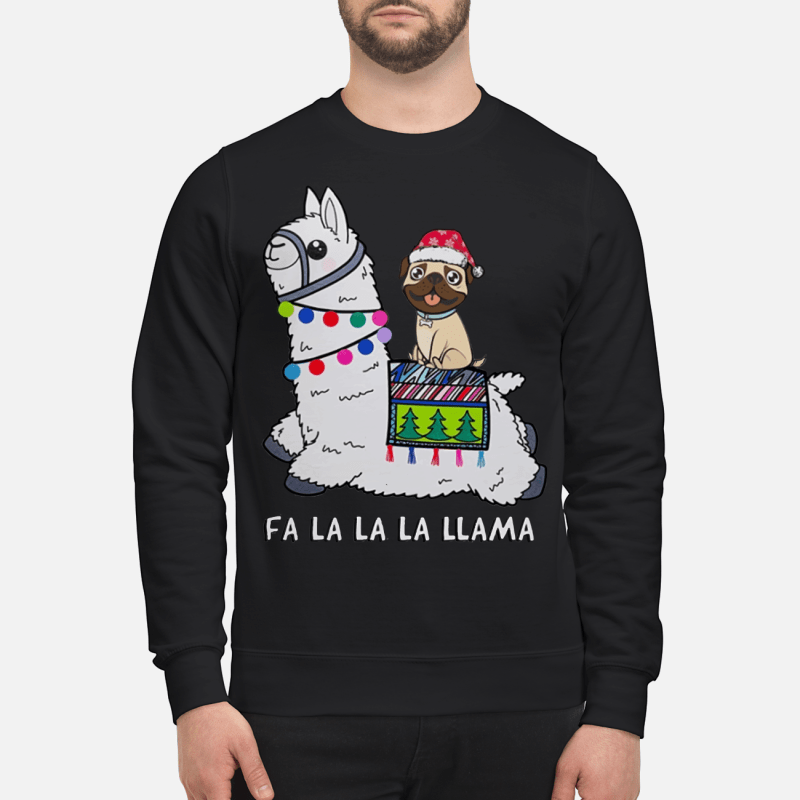 Baby Pug and Fa la la la llama christmas sweater sweartshirt