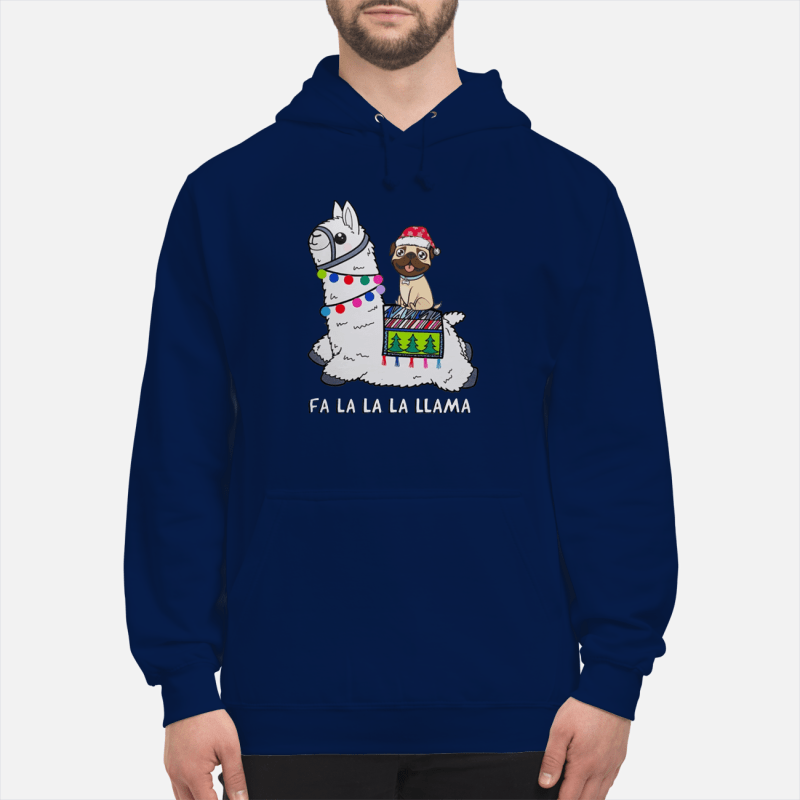 Baby Pug and Fa la la la llama christmas sweater unisex hoodie
