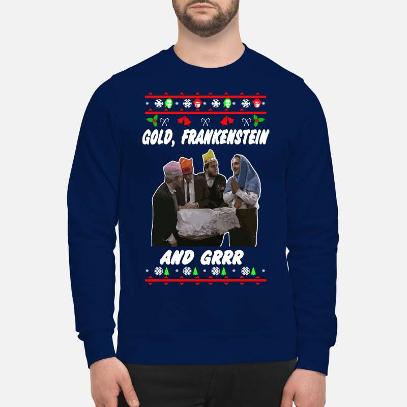 Christmas Gold Frankenstein and grrr sweater sweartshirt