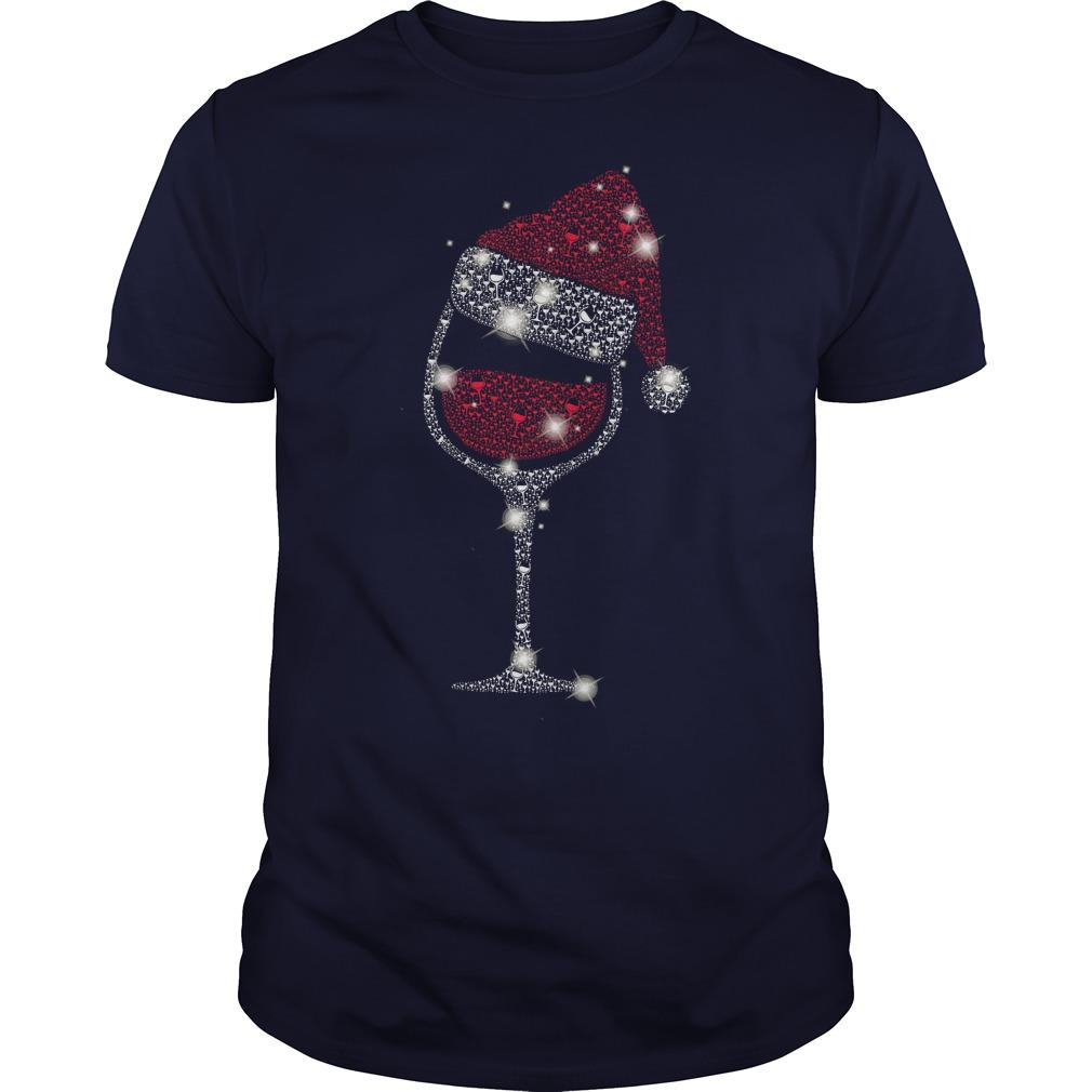 Diamond wine Glass ugly Christmas navyblue shirt