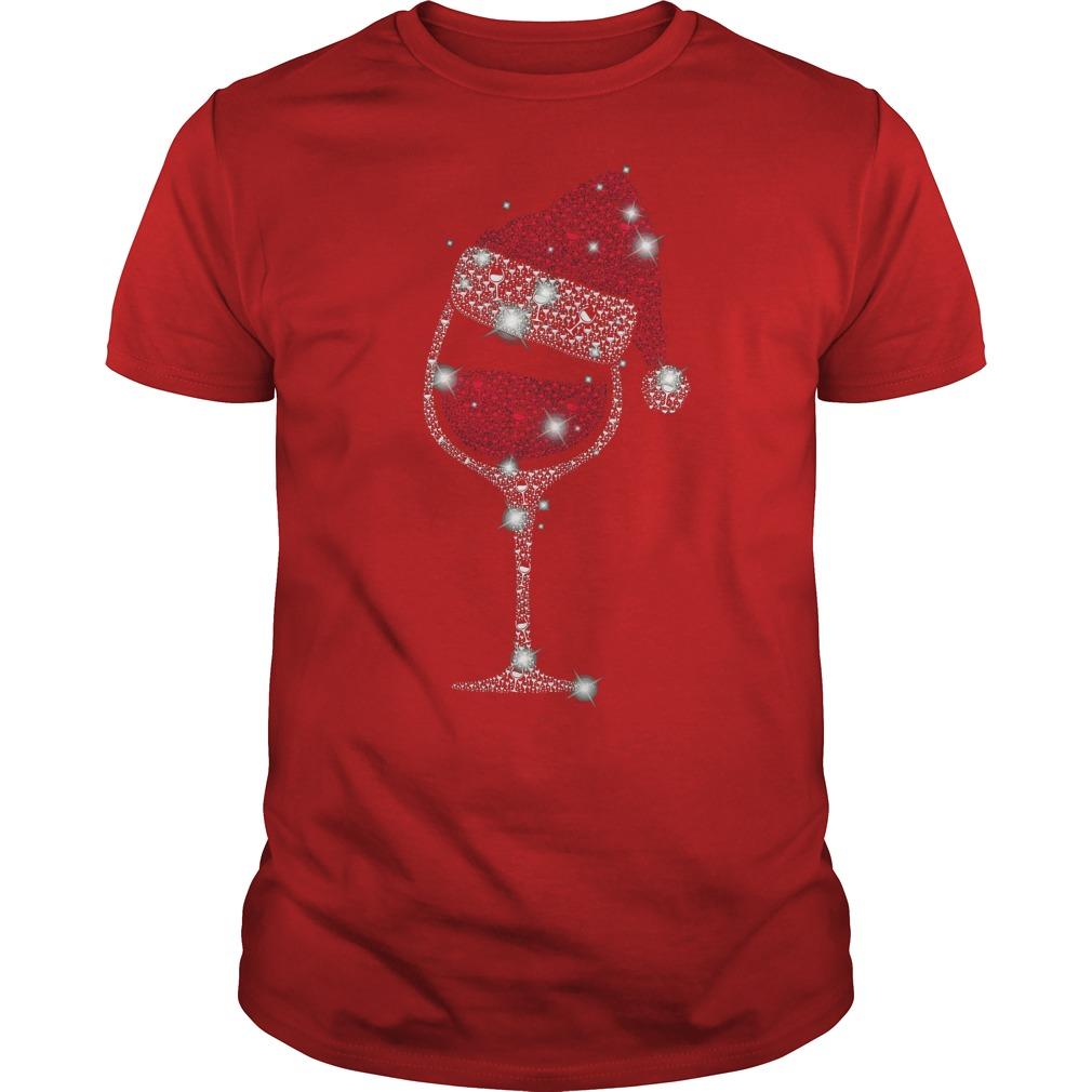 Diamond wine Glass ugly Christmas red shirt
