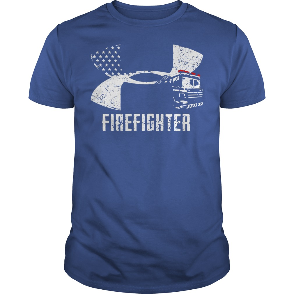 Firefighter Under Armour logo shirt blue