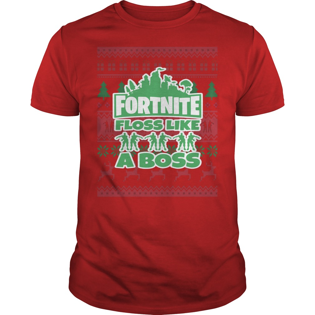 Fortnite floss like a boss ugly Christmas ugly red shirt