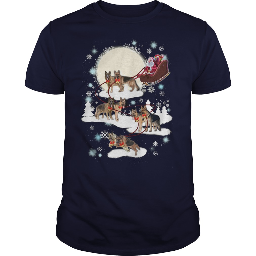 German Shepherd ugly Christmas navy blue shirt
