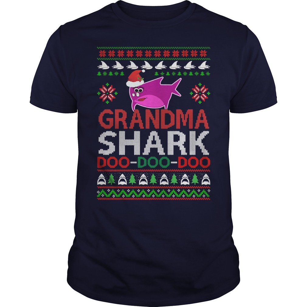 Grandma shark Doo Doo Doo ugly Christmas blue shirt