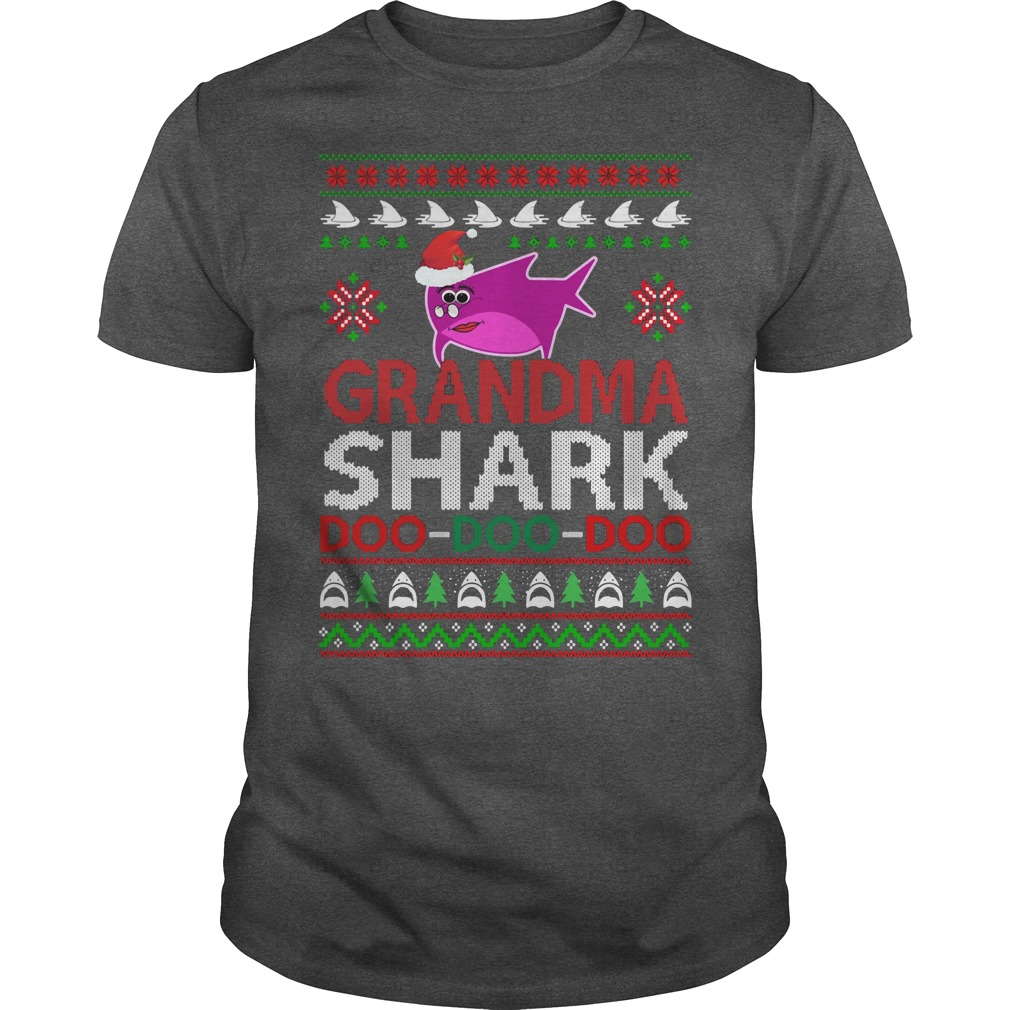 Grandma shark Doo Doo Doo ugly Christmas darkgray shirt