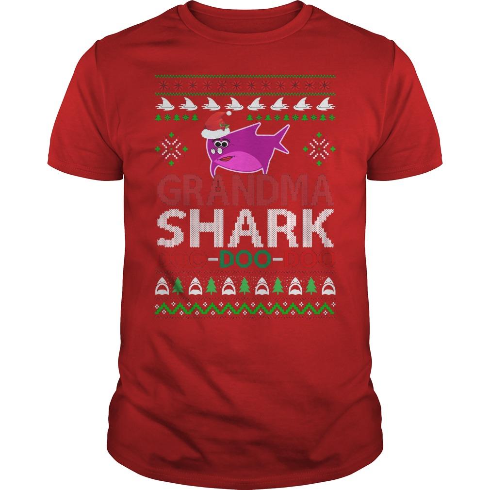 Grandma shark Doo Doo Doo ugly Christmas red shirt