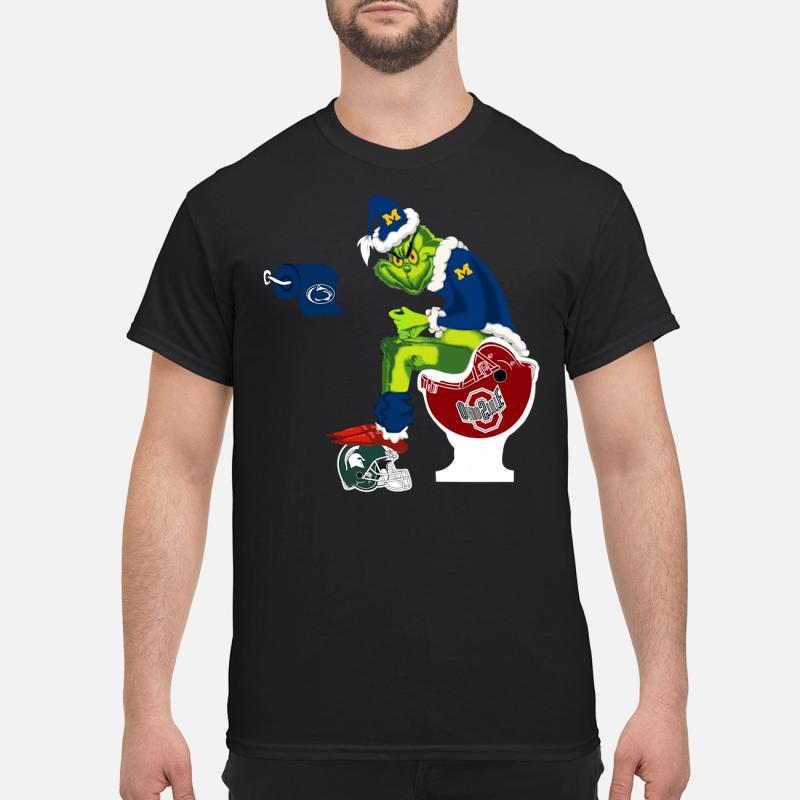 Grinch Santa Michigan Wolverines Toilet Ohio State Buckeyes shirt