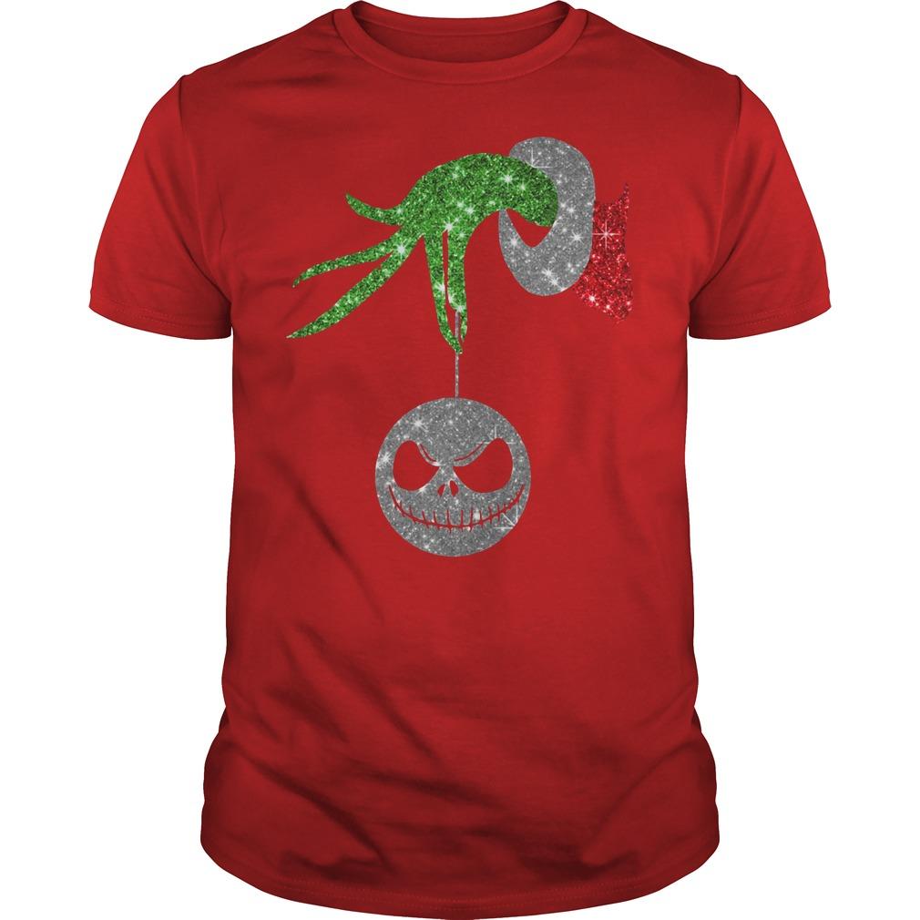 Grinch hand holding ornament Jack Skellington red shirt