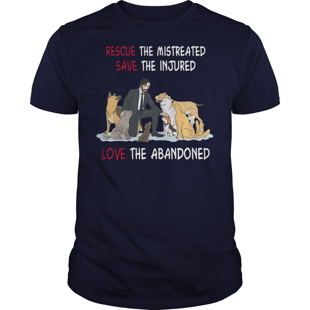 John Wick rescue the mistreated save the injured love the abandoned navy blue shirt