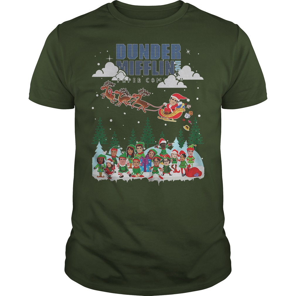 NBC the office Dunder Mifflin Ugly Christmas green shirt