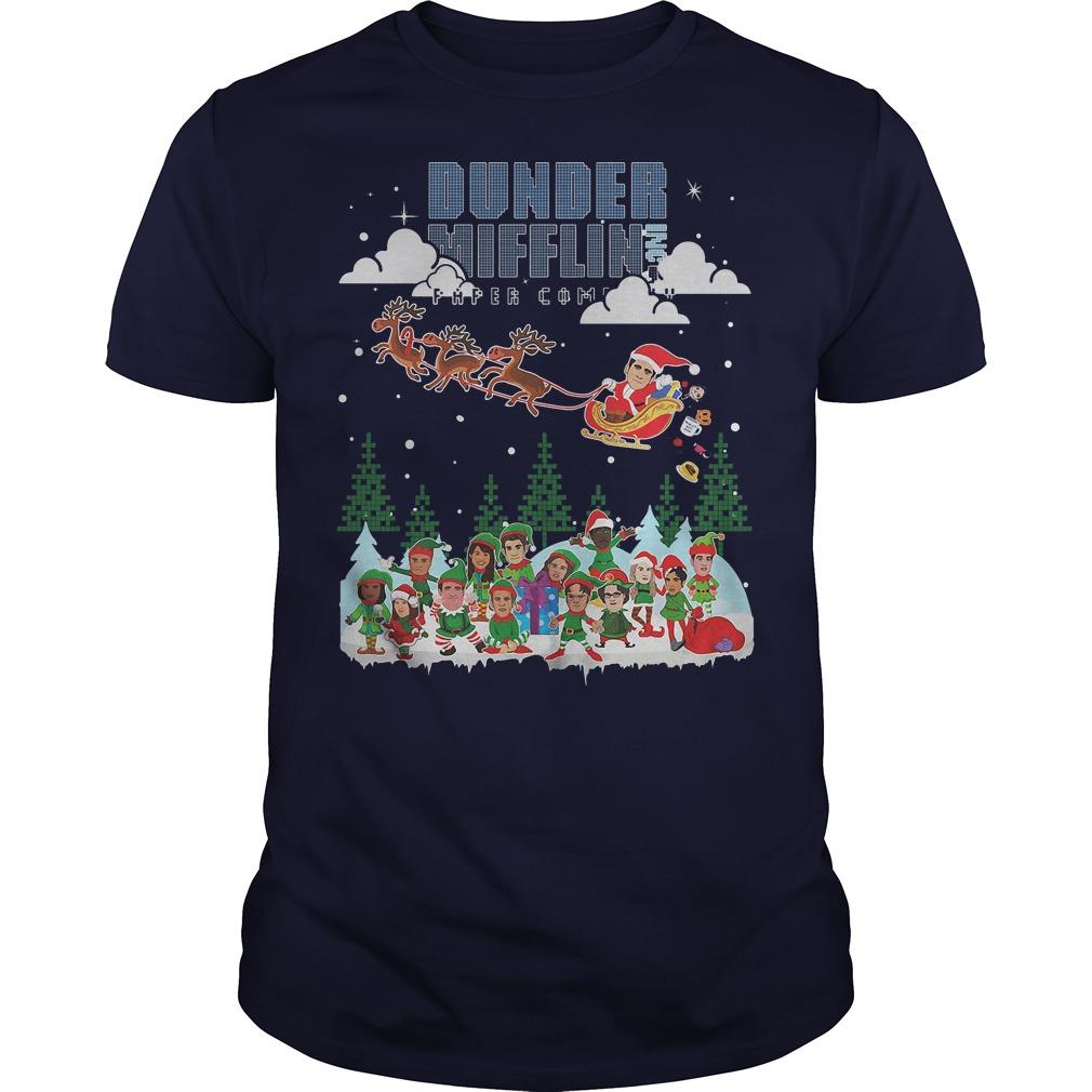 NBC the office Dunder Mifflin Ugly Christmas navy blue shirt