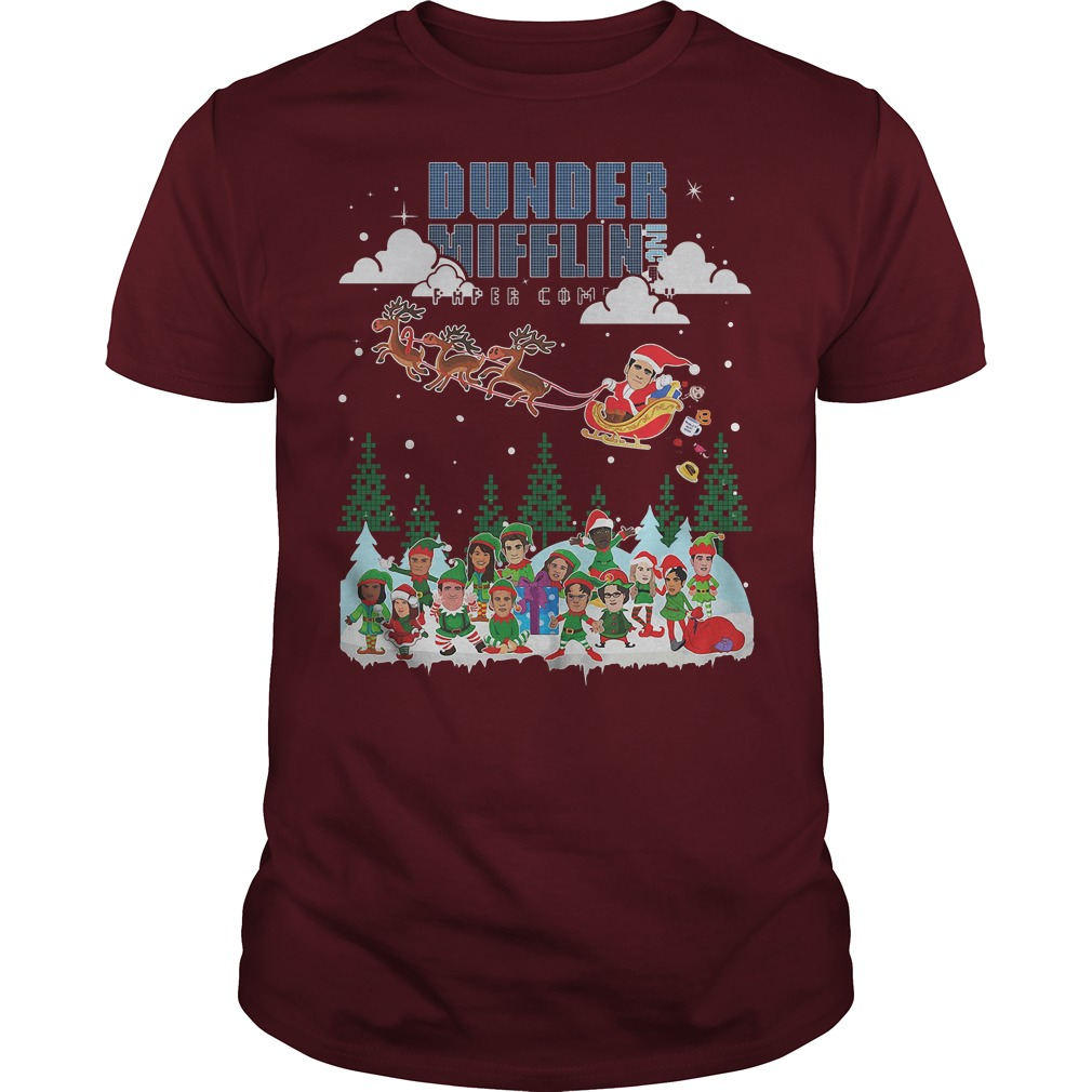 NBC the office Dunder Mifflin Ugly Christmas red shirt