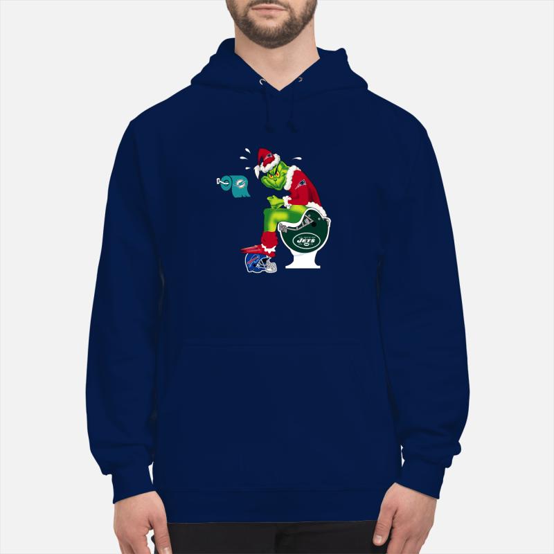 New England Patriots Grinch Santa Toilet unisex hoodie