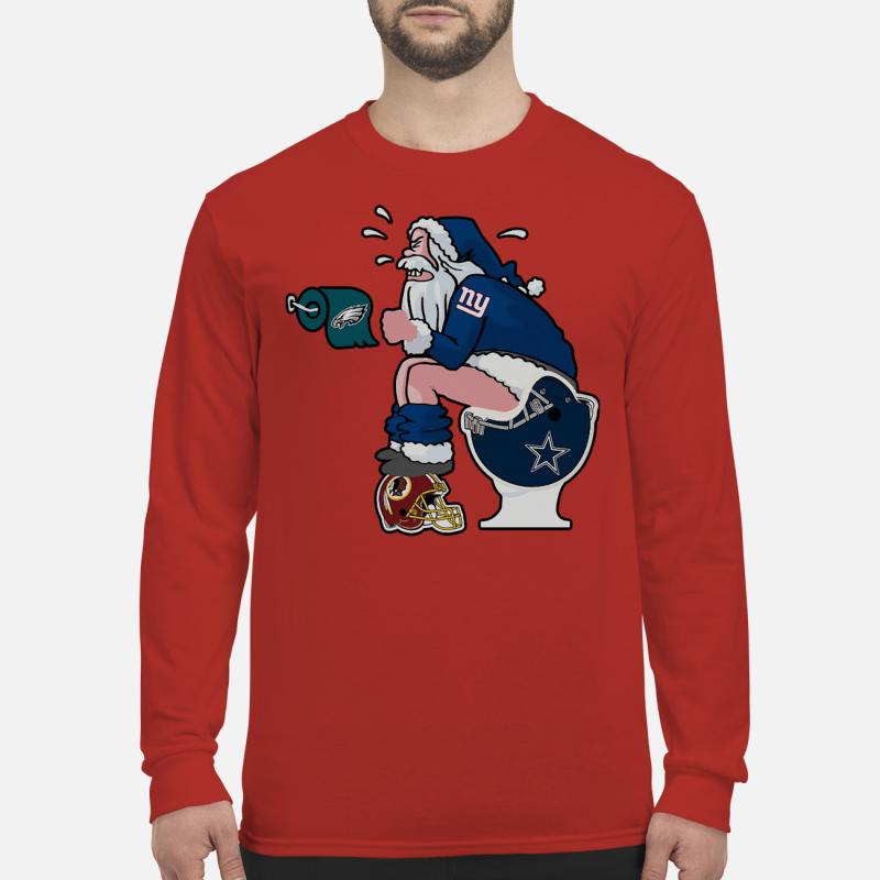 New York Giants santa Claus make shit toilet shirt and sweater long sleeved
