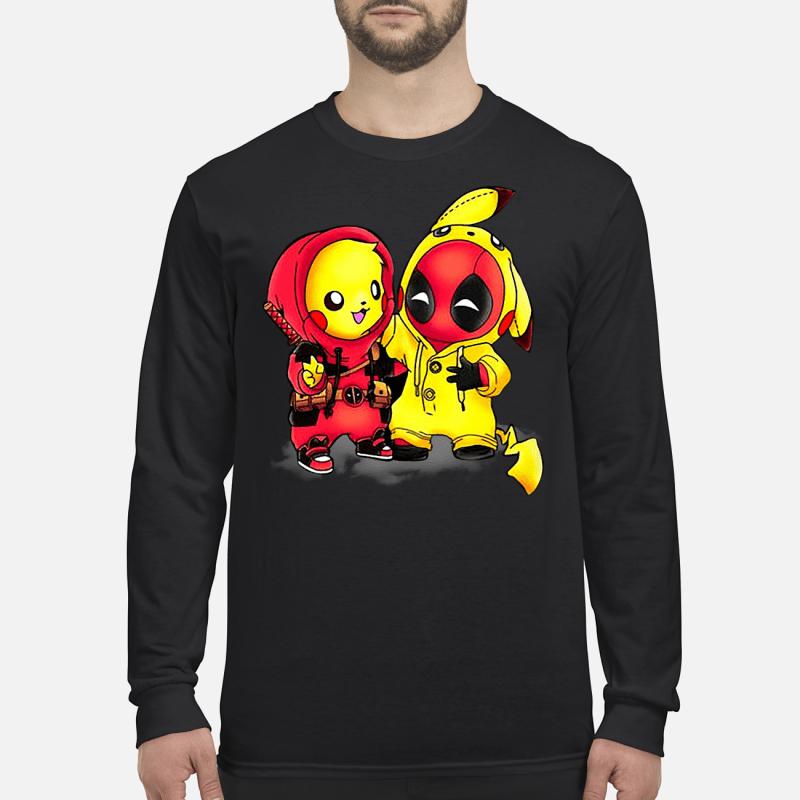 Pikapool Pikachu Pokemon and Deadpool shirt long sleeved - Copy