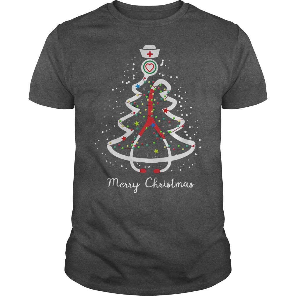 Stethoscope pine Christmas tree ugly darkgray shirt
