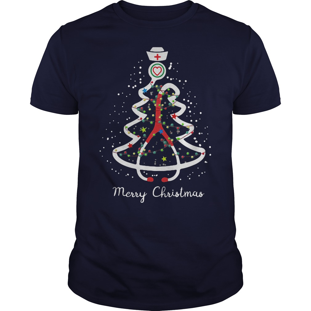Stethoscope pine Christmas tree ugly navy blue shirt