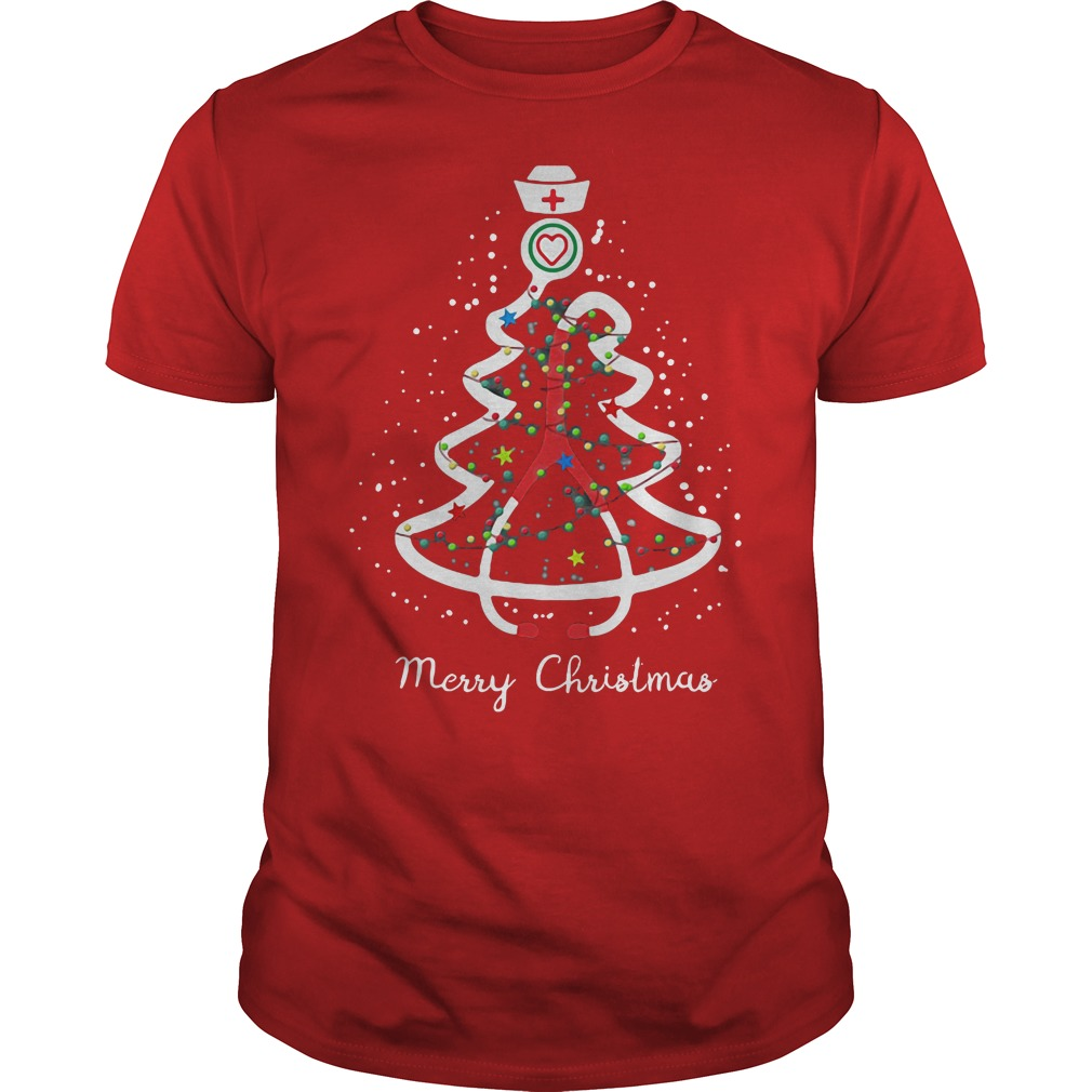 Stethoscope pine Christmas tree ugly red shirt
