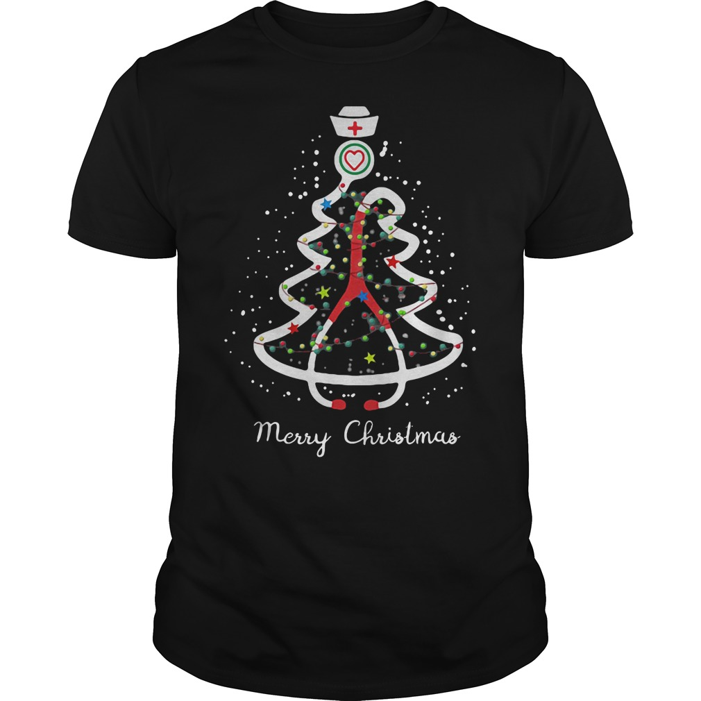 Stethoscope pine Christmas tree ugly shirt