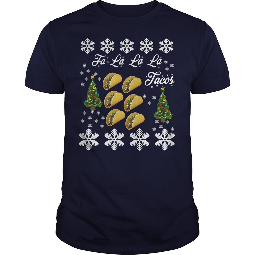 Tacos falalala ugly christmas blue shirt