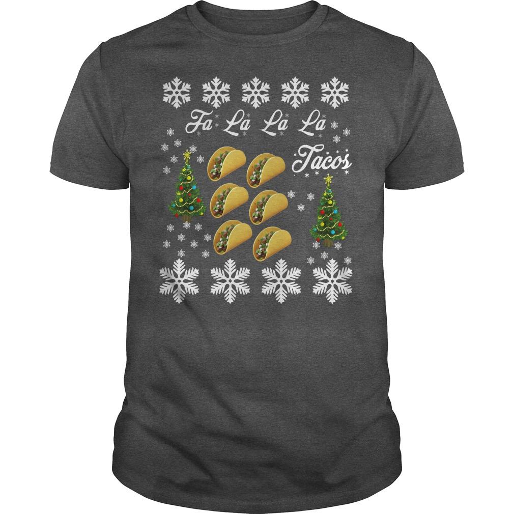Tacos falalala ugly christmas darkgray shirt