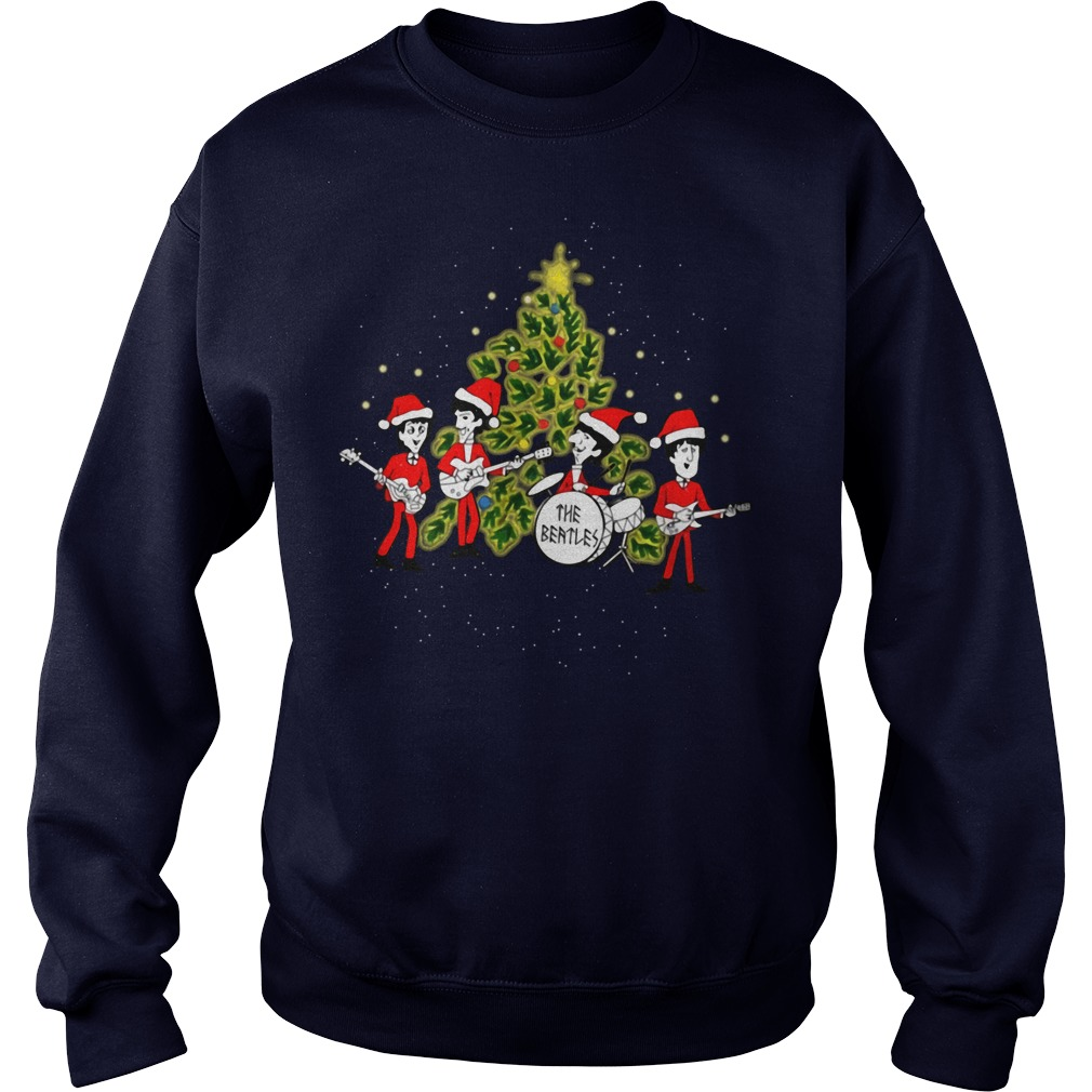 The Beatles chibi ugly Christmas sweater blue
