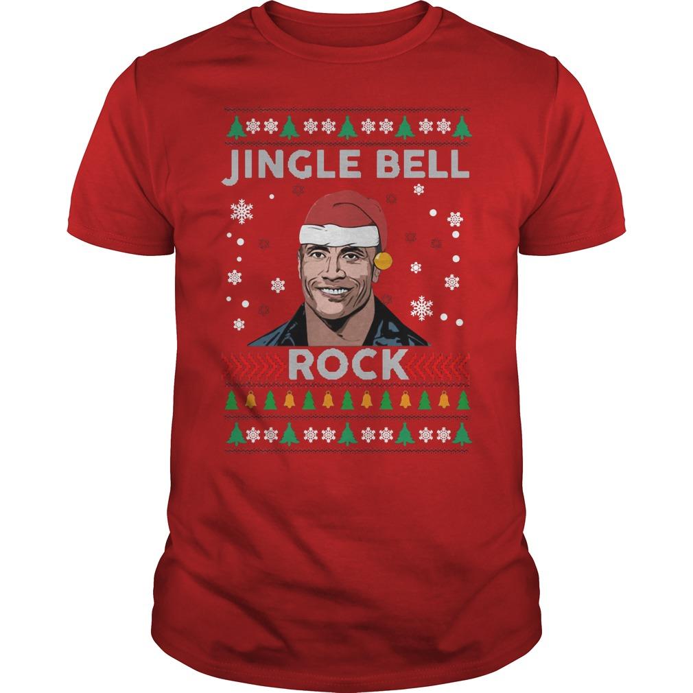 The Rock jingle bell rock ugly Christmas red shirt