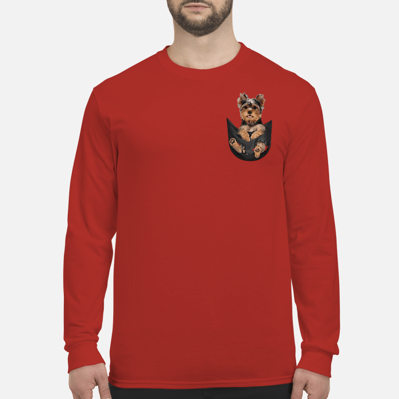 Yorkshire Terrier in a pocket shirt long sleeved