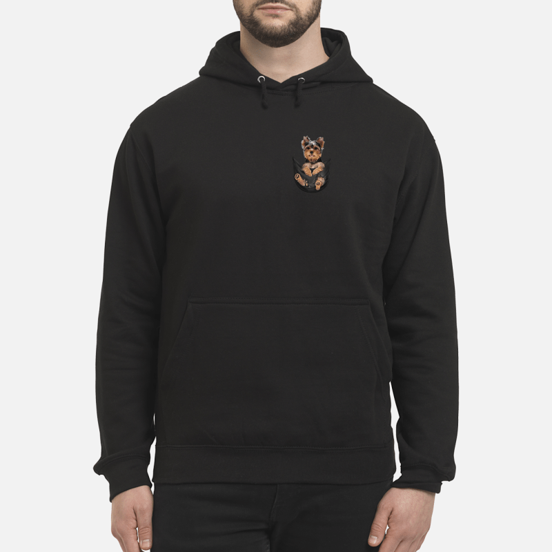 Yorkshire Terrier in a pocket shirt unisex hoodie