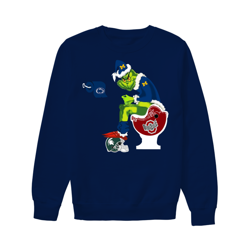 Grinch Santa Michigan Wolverines Toilet Ohio State Buckeyes Sweatshirt