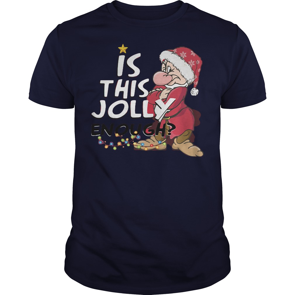 grumpy jolly enough christmas navy blue shirt