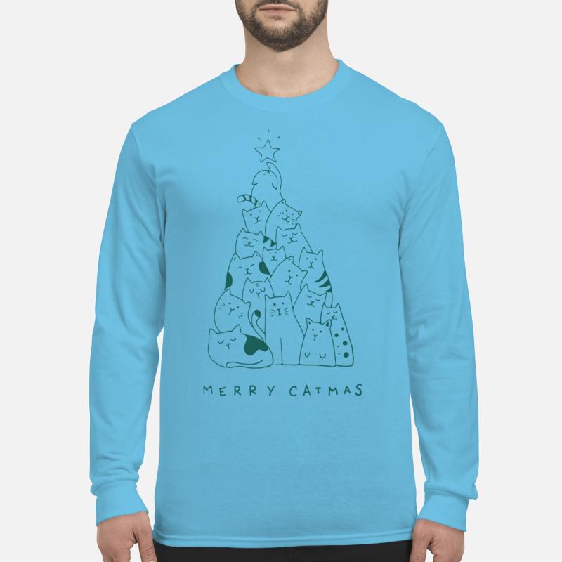 Merry Catmas Christmas tree long sleeve t-shirt