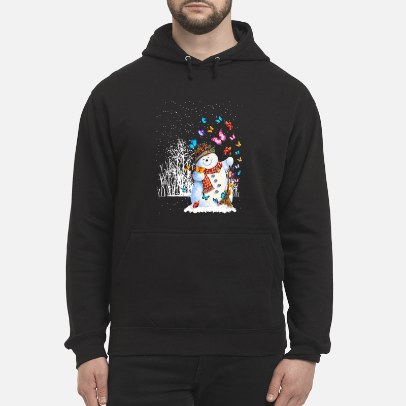 Christmas snowman and butterflies hoodie