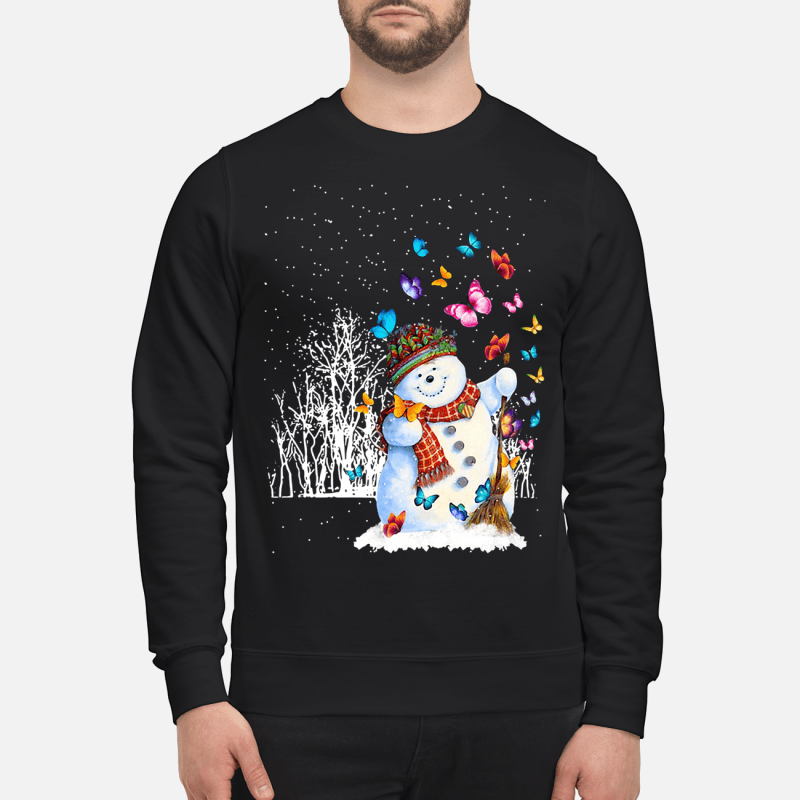 Christmas snowman and butterflies sweartshirt