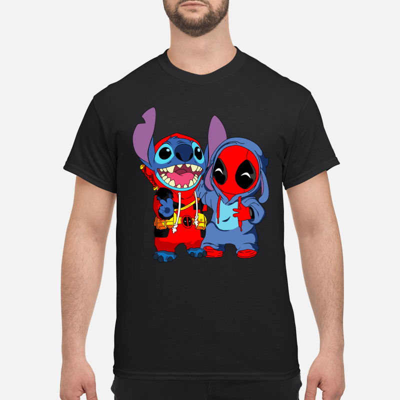 Deadpool and stich baby shirt