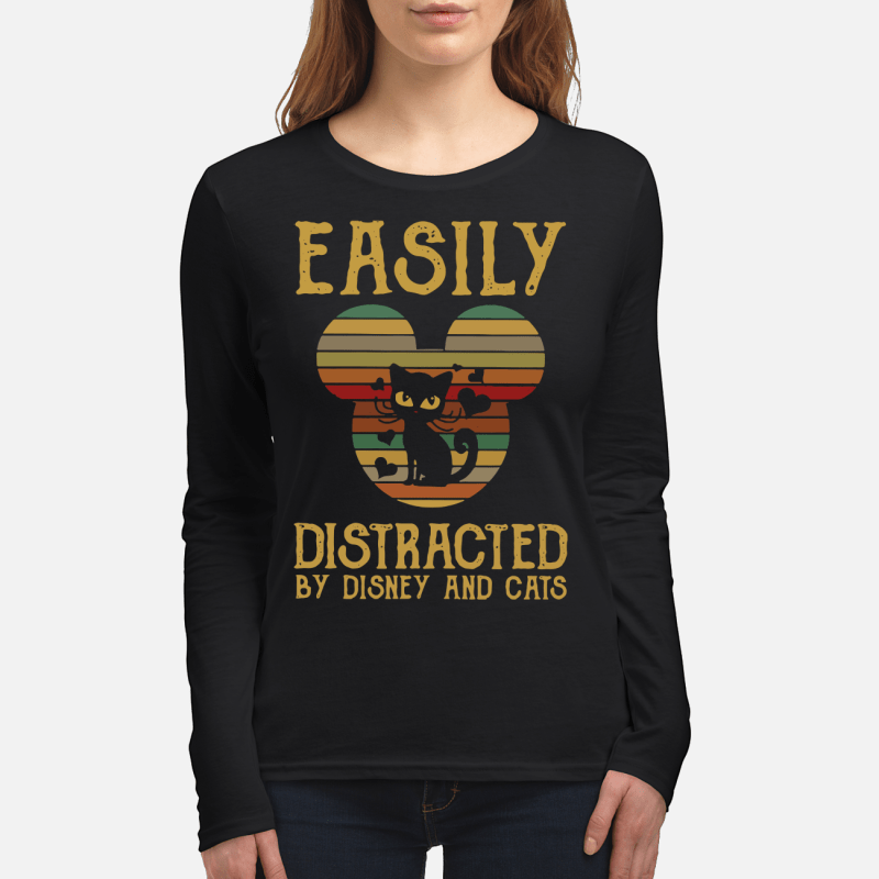 Easily distracted by Disney and cats sunset long sleeved
