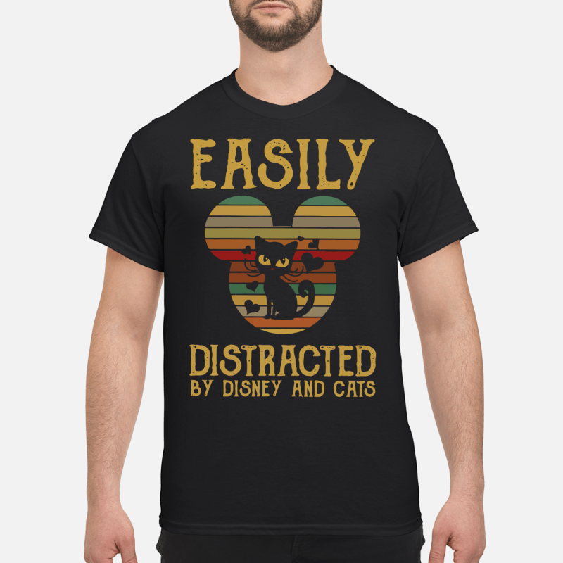 Easily distracted by Disney and cats sunset shirt